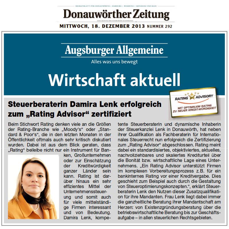 """Damira Lenk ist """"Rating Advisor"""""""