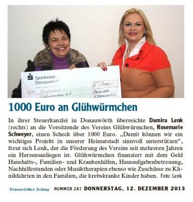 1000 Euro an Glühwürmchen e.V.