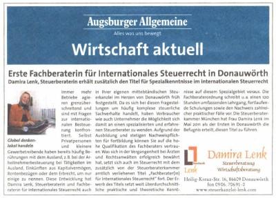 """Damira Lenk ist """"Fachberaterin für internationales Steuerrecht"""""""