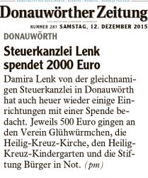 Steuerkanzlei Lenk spendet im Dezember 2015 für verschiedene soziale Projekte 2000 Euro