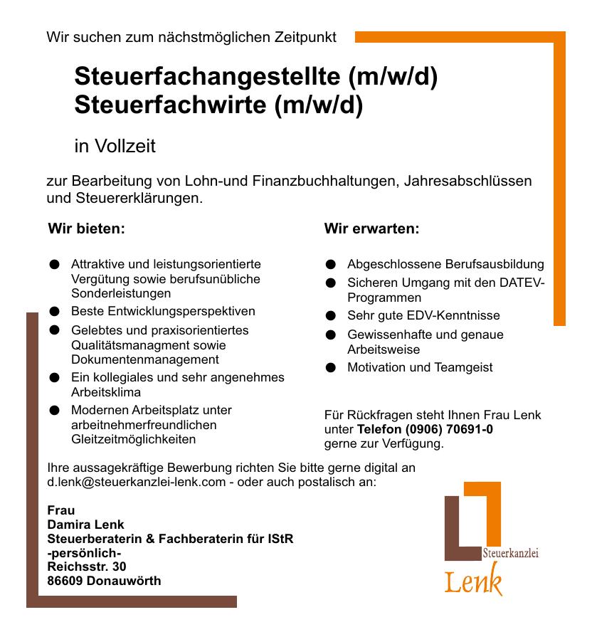 Aktuelle Stellenausschreibungen Steuerkanzlei Lenk Donauwörth