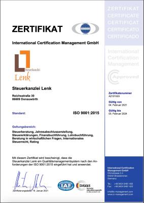 Zertifikat ISO 9001  Steuerkanzlei Lenk - gültig bis 03.02.2024